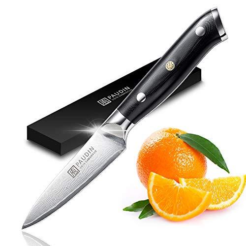 PAUDIN Damast Schälmesser 9cm - Obst und Gemüsemesser Japanisches AU10 Küchenmesser mit ergonomischem schwarzem Micarta-Griff