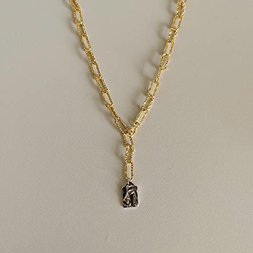 ShSnnwrl Colgante Collar de Plata de Ley 925, Collar con Colgante de Retrato en Relieve Dorado para Mujer, dijes de joyería Fina