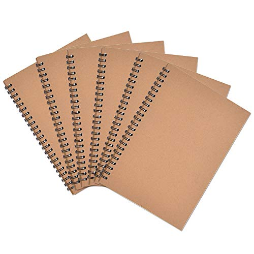 Coopay 6 Pack Soft Cover Notebooks Spiral Sketchbook Journal Diary Planner Lined Notebook for Business Office School,120 Pages/ 60 Sheets, A5/ 8.3 x 5.5 inch (Kraft Cover)
