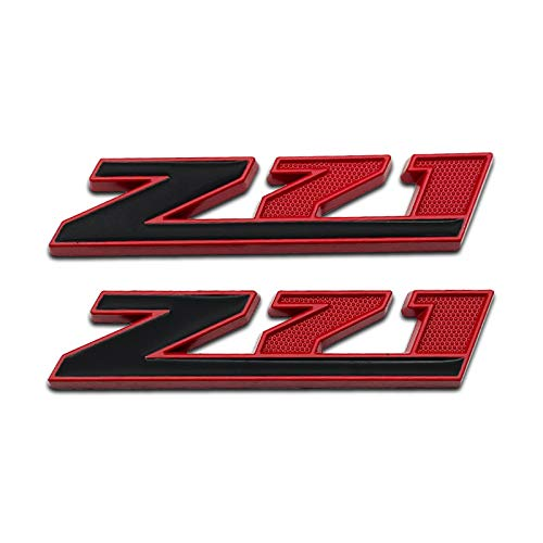 HQS 2Pcs Chrome Metal Car Door Fender Z71 Emblem Logo Racing Coupe SUV Sticker Off Road Badge for Chevrolet GMC Silverado Sierra Tahoe Suburban (Red & Black)