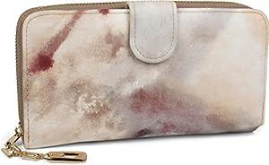 styleBREAKER Geldbörse mit Aquarell Muster, umlaufender Reißverschluss, Portemonnaie, Damen 02040075, Farbe:Braun-Grau