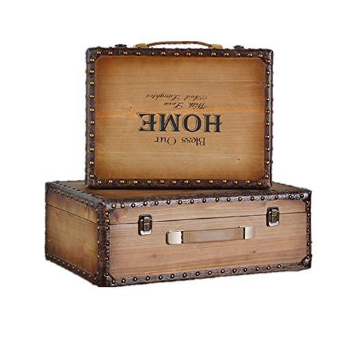 Panjianlin Retro Reise-Koffer Weinlese-Koffer Gepäck Retro Style Storage Box Set 2 Puppenstubenmöbel Zubehör (Brown) Antike Vintage-Aufbewahrungsbehälter (Color : Brown, Size : Large+small)
