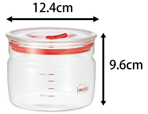 iwaki(イワキ)耐熱ガラス保存容器550ml4点セット密閉クリアパックKB7001M-R