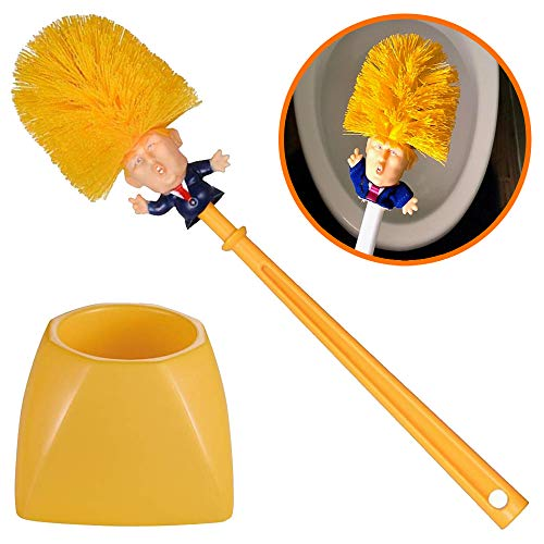 Donald Trump Toilet Brush - Novelty Bowl Cleaner for Household Bathroom - Funny President's Head Cleaning Scrubber with Holder Stand & Storage - Fun Political Gag Gifts - Orange Yellow - by Mobi Lock