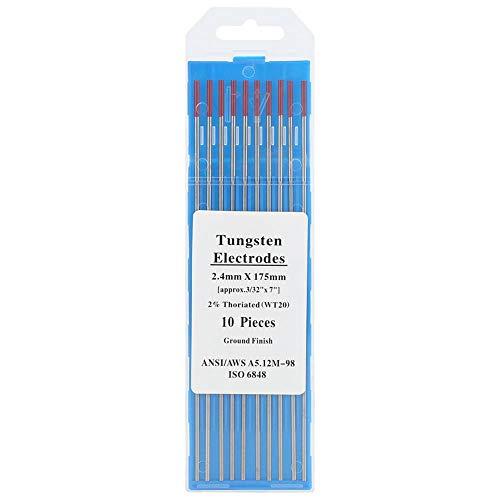 �������】 WT20 Electrodo de tungsteno Profesional Tig Rod 2% Thoriated para máquina de soldadura Tig, (Rojo)(2.4mm*175mm)