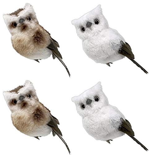 BANBERRY DESIGNS Set of 4 Clip-on Feathered Owl Ornaments - Each is Approximately 5' H XX 2.5' W - Craft Accessory - Rustic Woodland Christmas #3613