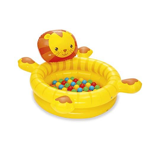 Bestway 52261 - Piscina de Bolas Hinchable Infantil León con 50 Bolas de Colores 111x98x61.5 cm