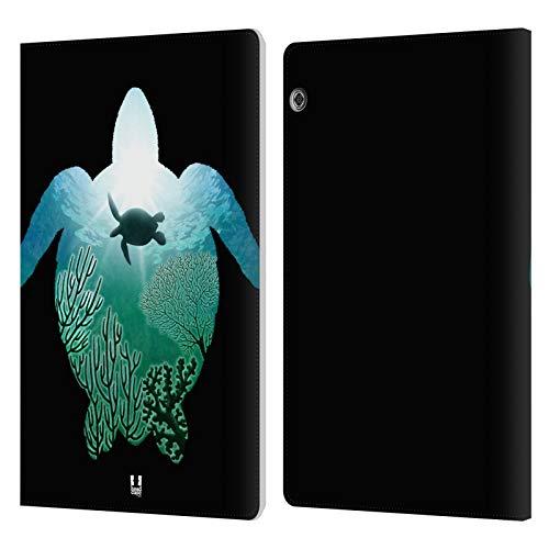 Head Case Designs Tartaruga Animali Doppia Esposizione Cover in Pelle a Portafoglio e Sfondo di Design Abbinato Compatibile con Huawei MediaPad T5