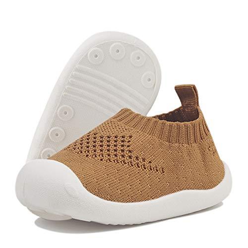 DEBAIJIA Bebé Primeros Pasos Zapatos 1-4 años Niños Niñas Infante Suave Suela Antideslizante Malla Transpirable Ligero 22 EU Amarillo (Tamaño de la etiqueta-20)