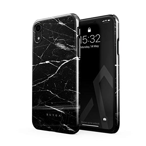 BURGA Hülle Kompatibel mit iPhone XR - Handy Huelle Schwarz Marmor Muster Black Marble Mädchen Dünn Robuste Rückschale aus Kunststoff Handyhülle Schutz Hülle Cover