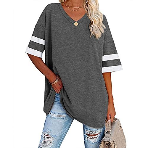 Camiseta casual de verano con cuello en V para mujer, de manga corta, informal, holgada, de béisbol, túnica, gris oscuro, M