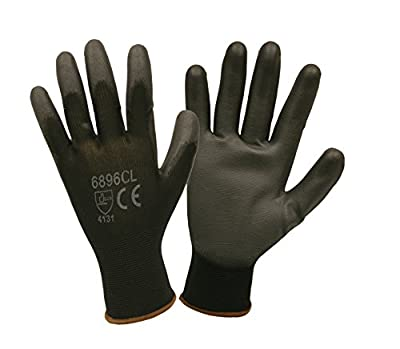 Cordova Safety Products 6896CS Black Nylon Gloves with Black PU Coating, Small