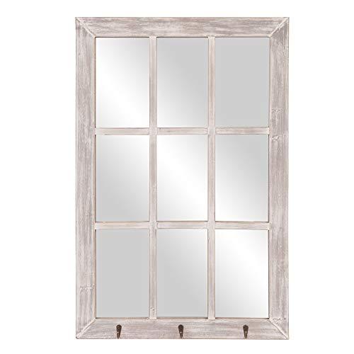 24x36 Gray Wash Windowpane Wall Mirror with Hooks