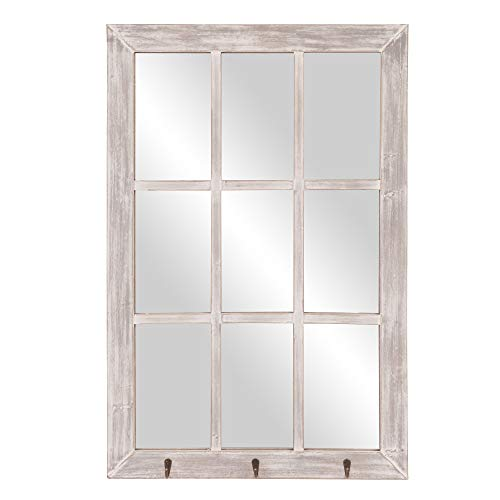 Patton Wall Decor Espejo de Pared con Ganchos para Ventana Blanco Envejecido, 24 x 36