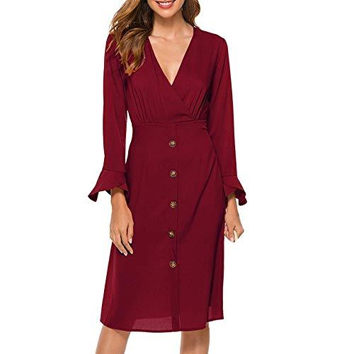 Strand Kleider Kleid Vestidos De Fiesta De Noche Frauen Kleid Ropa Mujer Robe XL Sexy Solid Color Slim Flare Ärmel Langarm-C_S