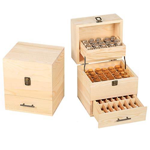PETZMALL 59 Slots 3 Nivel Caja de Almacenamiento de Aceite Esencial de Madera Rodillo de Organizador de aromaterapia de Madera para joyería