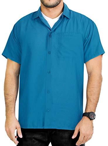 LA LEELA Casual Hawaiana Camisa para Hombre Señores Manga Corta Bolsillo Delantero Surf Palmeras Caballeros Playa Aloha XL-(in cms):121-132 Azul_X381