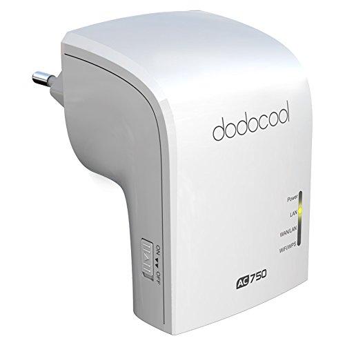 dodocool dodocool Repetidor Wifi AC750Dual Band inalámbrico AP/Repetidor Wifi/Wifi Router simultánea 2.4GHz/5GHz EU Plug