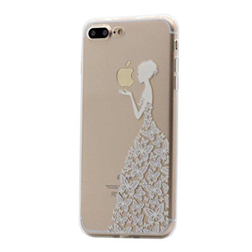 Hamyi iPhone 8 Plus Custodia iPhone 7 Plus Cover Interessante Divertente Modello Leggero Sottile Morbido Trasparente Chiaro TPU Silicone Caso per iPhone 8 Plus (Principessa Gonna Farfalla Bianca)