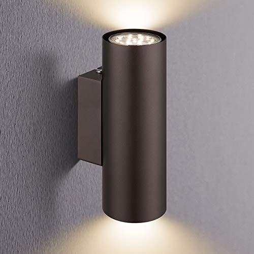 IMPTS LED Wandleuchte Wandlampe innen, Wand Beleuchtung mit Up/Down-Effekt, Inkl. 2 x Leuchtmittel 3000K Warmweiß 280LM , Braun LED-Wandbeleuchtung aus Hochwertiges Metall