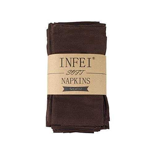 INFEI weich Leinen Baumwolle Abendessen Cloth Servietten, 12 Stück (40 x 40 cm), für Veranstaltungen und den Heimgebrauch (dunkler Kaffee)