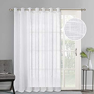 NICETOWN Linen Look Sheer Curtains - Casual Style White Grommet Top Window Treatment Semi Voile Drape Panels for Sliding Glass Door, W100 x L95, 1 Pack