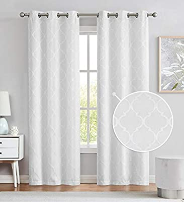 Variegatex Grommet Moderate Blackout Curtains 95 Inches Long, Jacquard Woven Moroccan Geo Narrow Window Treatment Drapes for Bedroom, Silvery White, 38x95, 2 Panels