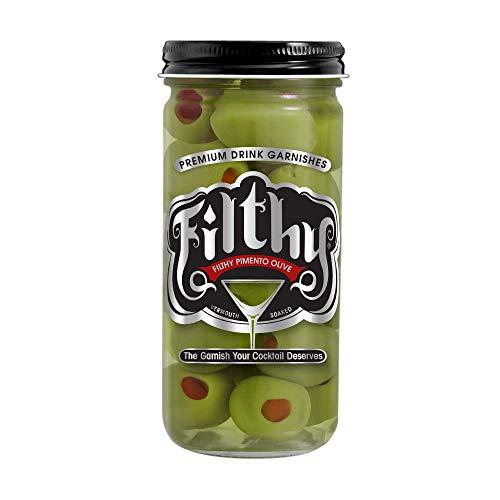 Filthy Food Filthy Pimento Stuffed Olive Case - Premium Martini Garnish - Made in the USA, Non-GMO & Gluten Free - 8oz, 1 Count