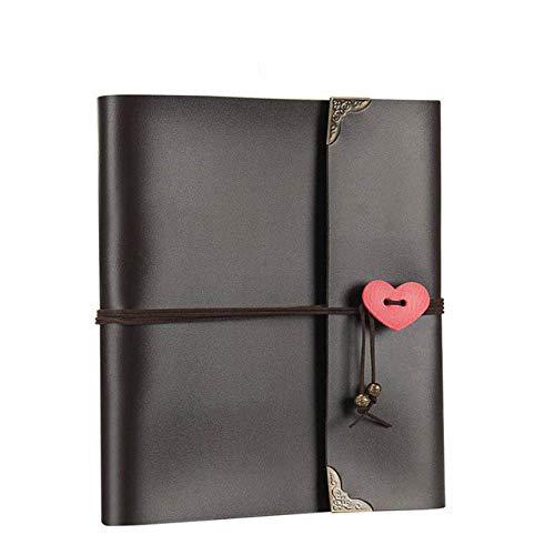 Álbum de recortes de bricolaje Álbum de fotos de cuero vintage Páginas negras Libro de registro de viaje Libro de invitados de boda Aniversario de San Valentín Navidad, Negro L