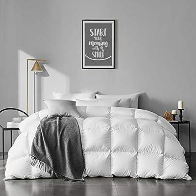 APSMILE 100% Organic Cotton Goose Feather Down Comforter Medium Warm All Seasons Hypoallergenic Duvet Insert (Full / Queen, Ivory White) from APSMILE