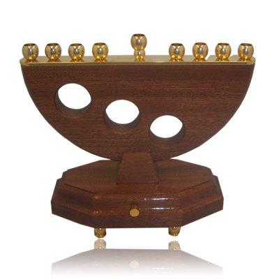 Hanukkah Menorah Musical Wooden Menora. Brass Candle Holders. Made in Israel. Size: 8.' X 6.5'