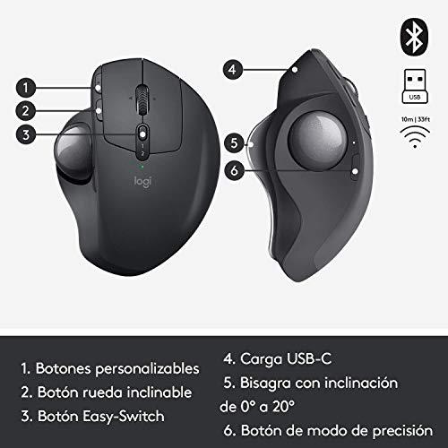 Logitech MX Ergo - Trackball inalámbrico avanzado / ratón para PC, Mac y Windows