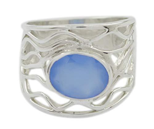 Riyo Bijoux Bague en Argent Sterling 925 avec calcédoine Bleue Naturelle Grand Cadeau