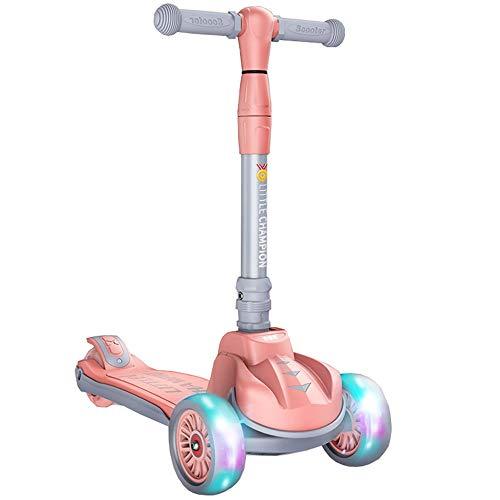 LJHBC Patinete 2-14 años 4 Ruedas con Flash Plegable Scooter para niños Niños y niñas (Color : Pink)