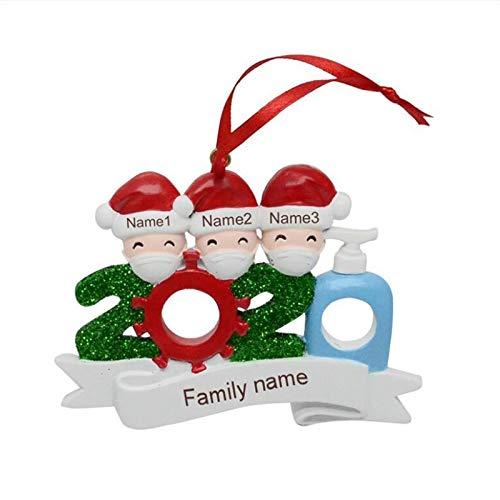 R-WEICHONG 2020 Pendiente del árbol de Navidad, Nombre Personalizado DIY para la decoración para el hogar, es Decir, de Las Decoraciones de Navidad: la Felicidad, la Paz, la Salud, la unión Partir