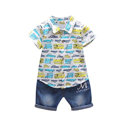 Fossen Ropa Bebe Verano 0-2 Años Niño Camiseta de Coche Impresión y Vaqueros (12-18 Meses, Azul)