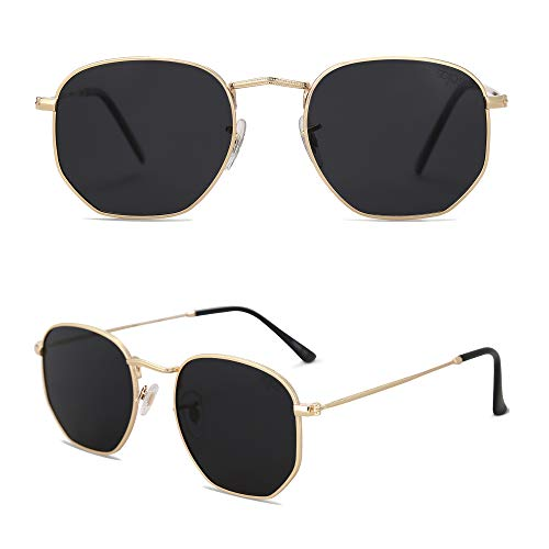 SOJOS Small Square Clear Lens Glasses for Men and Women Eyewear Eyeglasses SJ1072 with Gold Frame/Smoke Lens