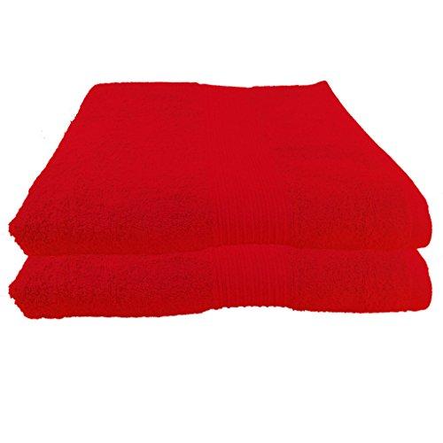 Julie Julsen - 2 Unidades, Toalla 100 x 150 cm, Disponible en 23 Colores, Suave y Absorbente, 500 gsm Öko Tex, 100% algodón, Rojo, 100 cm x 150 cm