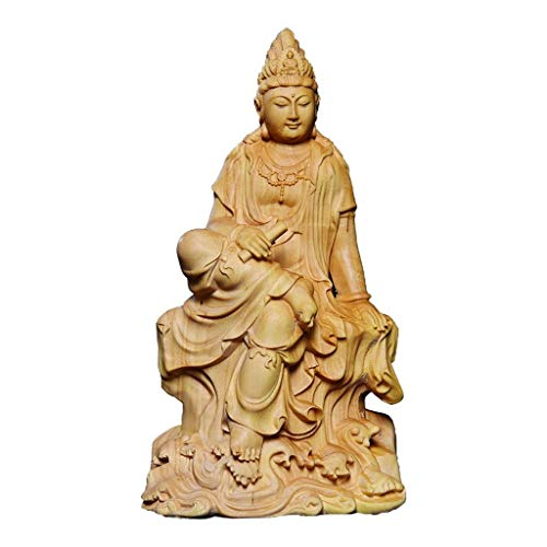ZHZH Zen Decor Garden Statues Home Decor Meditating Buddha Statue Ornament - Boxwood Carving Take The Book Guanyin - Desktop Decoration Handcrafted Art (5.3' Tall) Gift Handmade Statues