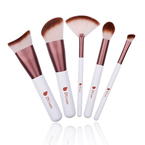 5pcs pinceau de maquillage Cosm trousse de maquillage professionnel avec fond de teint fard à paupières brosse en forme de ventilateur
