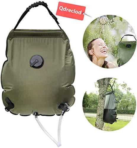Qdreclod Campingdusche Solardusche Tasche, Tragbare Solar Gartendusche Outdoor Warmwasser Dusche Reisedusche mit Duschkopf, Schlauch, Griffstange und Seil zum Aufhängen (Style2-20L)