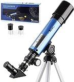 TELMU Telescopio para Niños –- Apertura 50 mm y Longitud Focal 360 mm telescopio Astronómico