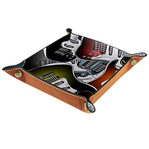 AITAI Bandeja de valet de cuero vegano organizador de mesita de noche de escritorio Catchall colorido guitarra eléctrica rock música instrumentos de cuerda