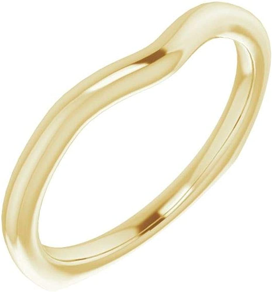 Solid 18K Yellow Gold Curved Notched Wedding Band for 5.8mm Round Ring Guard Enhancer - Size 7