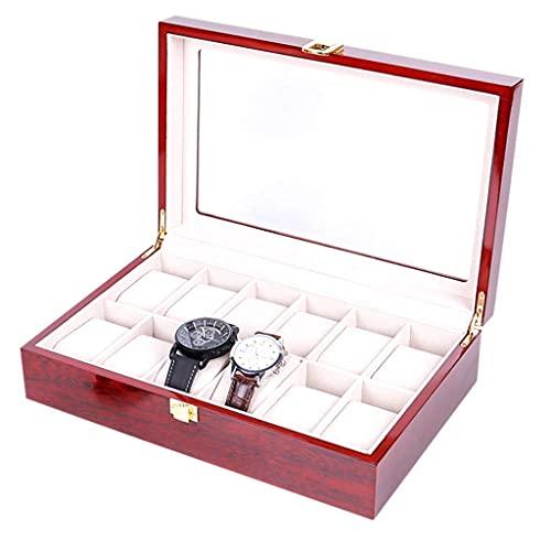 W-HUAJIA Caja de Almacenamiento -12 Grids Reloj Box Joyas de Madera Caja de exhibición Caja de Almacenamiento Caja de Regalo Caja de joyería