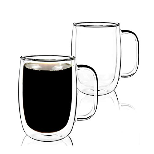 Brimley 2 Pack Double Walled Mugs Double Walled Thermo Insulated Mugs with Handles Latte Cappuccino Espresso Glassware 16oz  Mugs