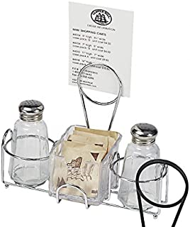 G.E.T. Enterprises Chrome Metal Two Compartment Condiment Caddy Metal Table Caddies Collection 4-22735 (Pack of 1)