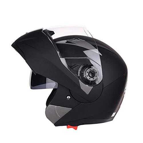 Cypressen Motorrad Helm Flip Up enthüllt Kopfbedeckung mit Doppellinsen-Motorradhelm zum Aufklappen für Motocross-Rennen, Anti-Fog All Seasons Helm