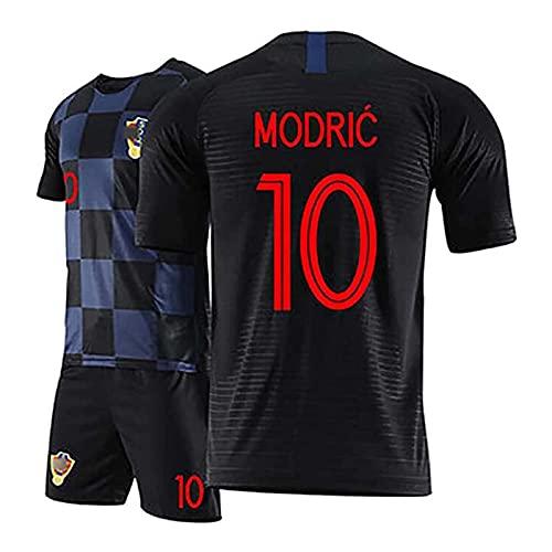 DSechcrsL Unisex-Trikot T-Shirt, 2018 Worild Cuo Kroatien Modric Jersey, Bovs Fußball Jersev Kits, Sportkleidung Für Erwachsene Kariertes Hemd,Schwarz,S/Small