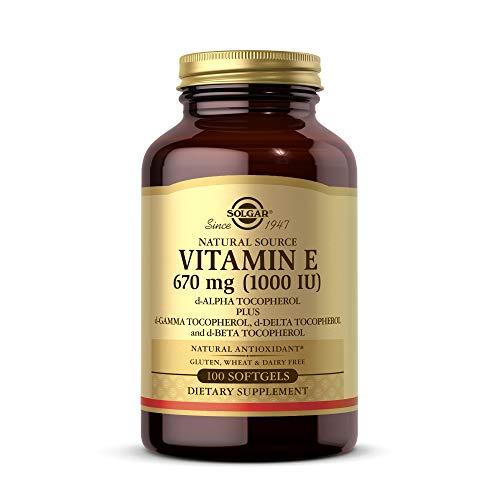 Solgar Vitamin E 670 mg (1000 IU), 100 Mixed Softgels - Natural Antioxidant, Skin & Immune System Support - Naturally-Sourced Vitamin E - Gluten Free, Dairy Free - 100 Servings